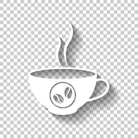 Cup of hot coffee icon. White icon with shadow on transparent background. Çizim