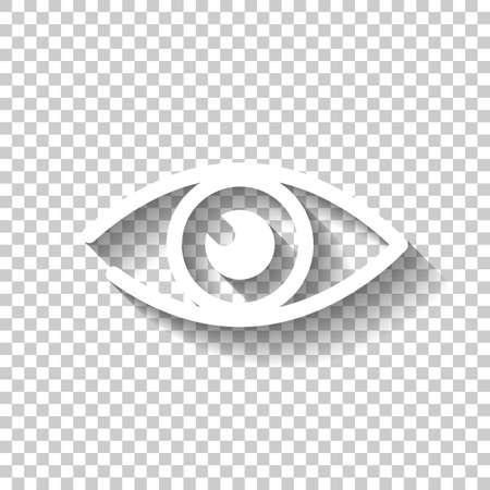 Einfaches Augensymbol. Weiße Ikone mit Schatten auf transparentem Hintergrund.