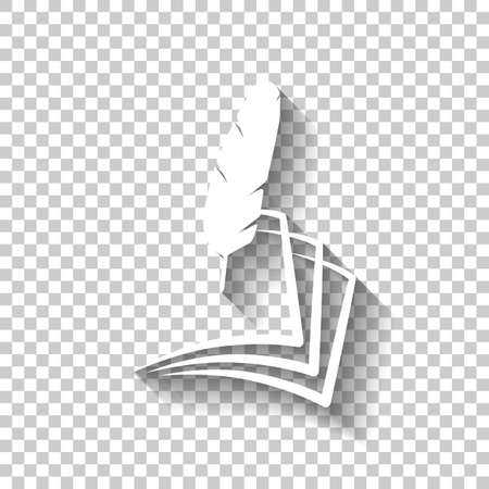 Feather and paper simple silhouette. White icon with shadow on transparent background.