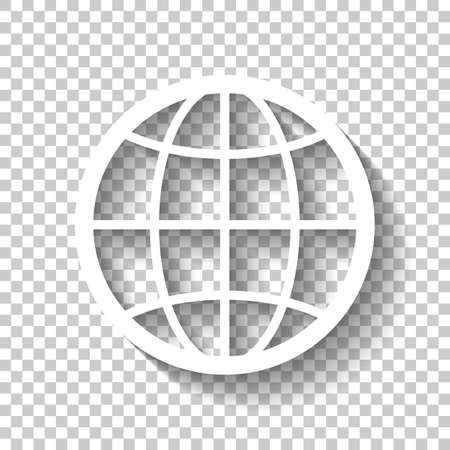 Globe, planet Earth simple silhouette. White icon with shadow on transparent background.