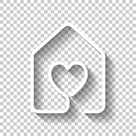 House with heart icon line style. White icon with shadow on transparent background.