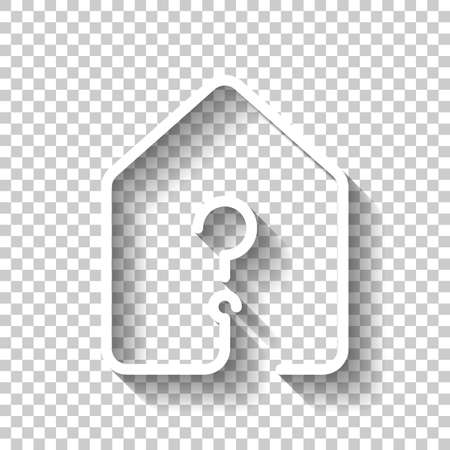 House with question mark icon line style. White icon with shadow on transparent background.