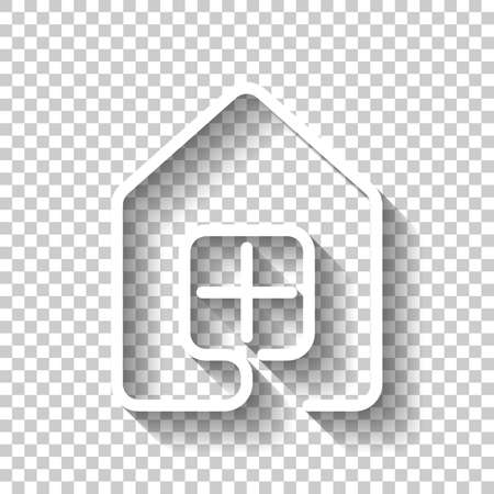 House with window icon line style. White icon with shadow on transparent background.
