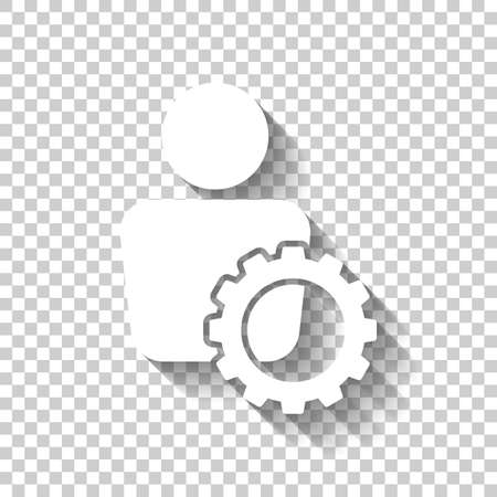 Human with gear icon. White icon with shadow on transparent background.