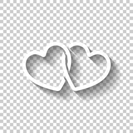 Linked hearts icon. White icon with shadow on transparent background. Ilustrace