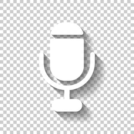 microphone. simple silhouette. White icon with shadow on transparent background