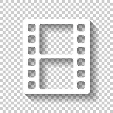 movie strip. simple silhouette. White icon with shadow on transparent background Stock Illustratie