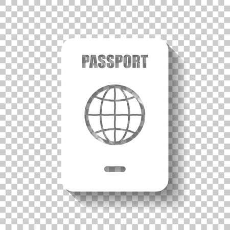 passport, simple icon. White icon with shadow on transparent background Illustration
