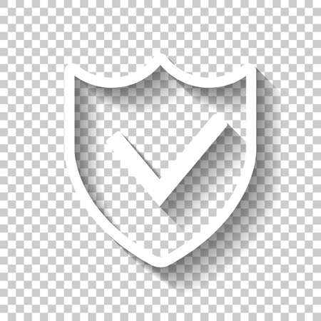 protection success. simple icon. White icon with shadow on transparent background Vettoriali