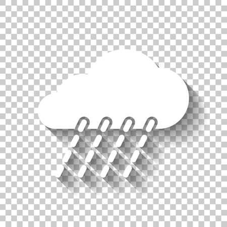 rain, weather icon. White icon with shadow on transparent background