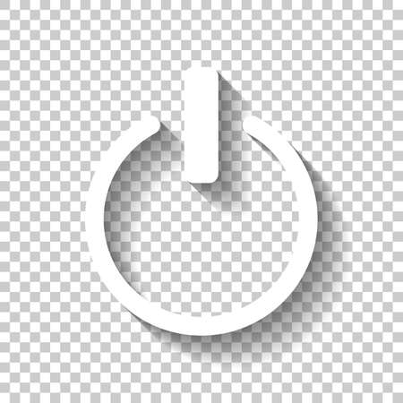 shut down, power. White icon with shadow on transparent background