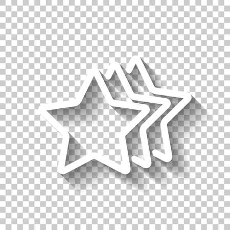 stars rate icon. White icon with shadow on transparent background