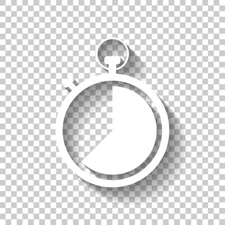 stopwatch. simple icon. White icon with shadow on transparent background