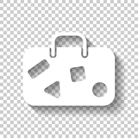 traveling bag, luggage, case. White icon with shadow on transparent background