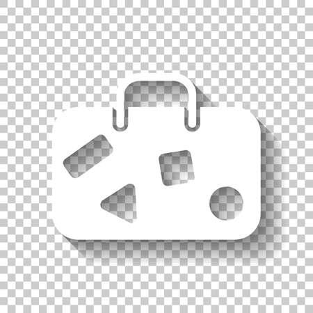 Reistas, bagage, koffer. Wit pictogram met schaduw op transparante achtergrond Stockfoto - 96962930