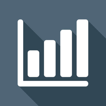 Growing graph line icon. White flat icon with long shadow on background