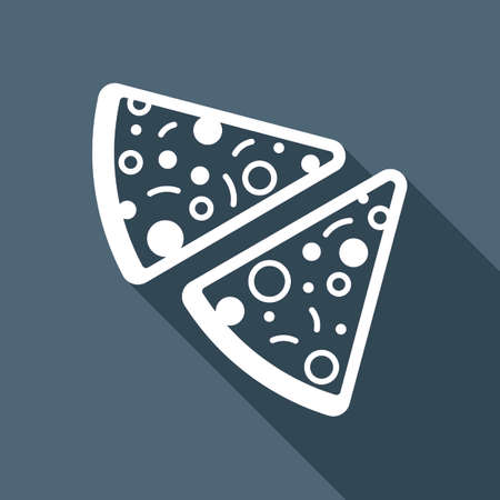 Pieces of pizza icon. White flat icon with long shadow on background. Vettoriali