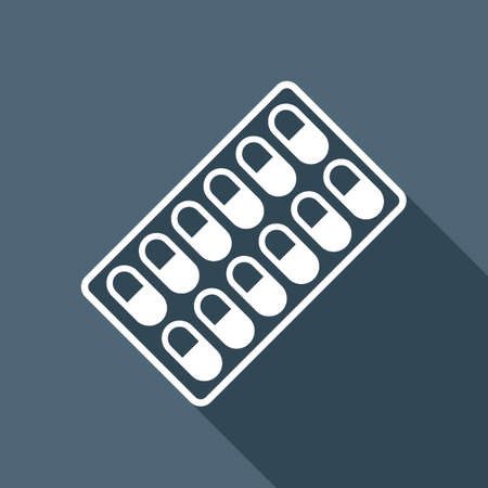 Pack Pills Icon. White flat icon with long shadow on background
