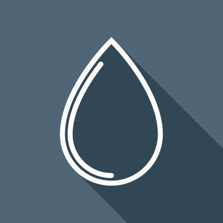 Water drop icon. White flat icon with long shadow on background.