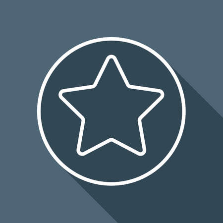 star in circle icon. White flat icon with long shadow on background Illustration