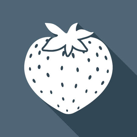 strawberry icon. White flat icon with long shadow on background
