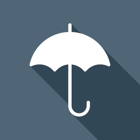 umbrella icon. White flat icon with long shadow on background Ilustrace