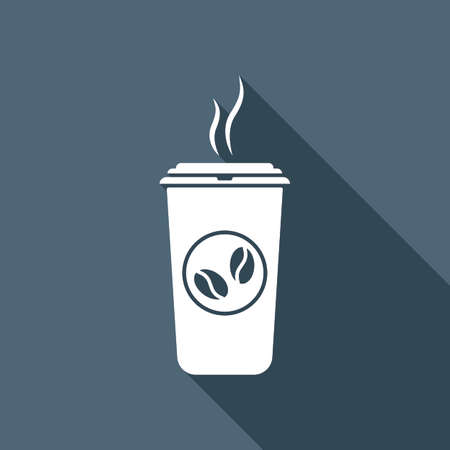 White cup of steaming coffee icon with long shadow in the background