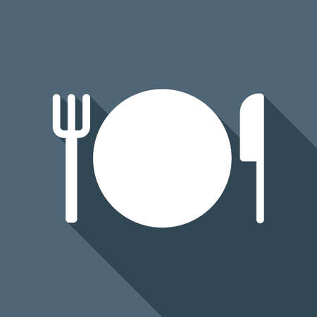 White plate, fork and knife icon with long shadow in the background