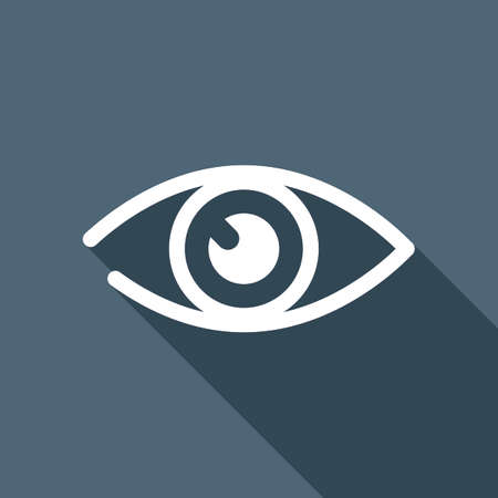 Simple white eye icon with a long shadow in the background 向量圖像