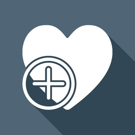 heart and plus. simple silhouette. White flat icon with long shadow on background Vettoriali