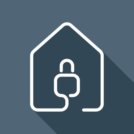 House with lock icon. line style. White flat icon with long shadow on background