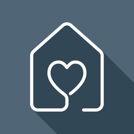 house with heart icon. line style. White flat icon with long shadow on background