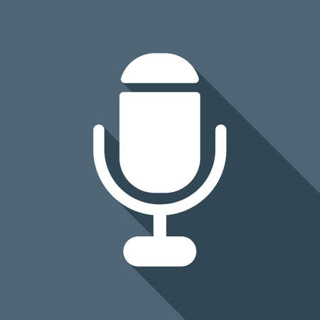 Microphone white flat icon with long shadow on background Illustration