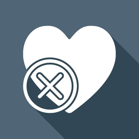 A heart with cross. simple silhouette. White flat icon with long shadow on background