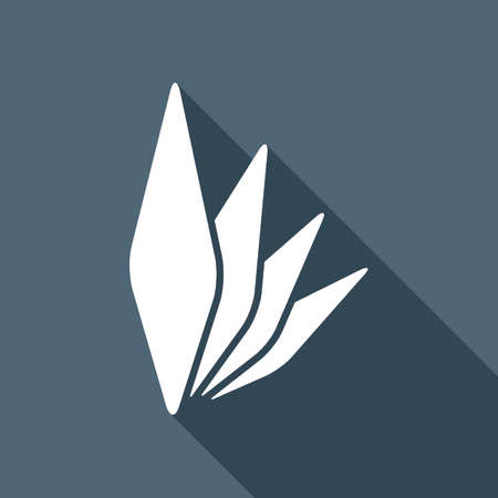 leaf bamboo. simple silhouette. White flat icon with long shadow on background Illustration