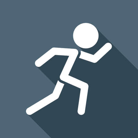 A running man. simple icon. White flat icon with long shadow on background