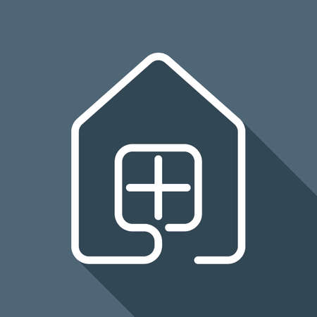 A house with window icon. line style. White flat icon with long shadow on background Illustration