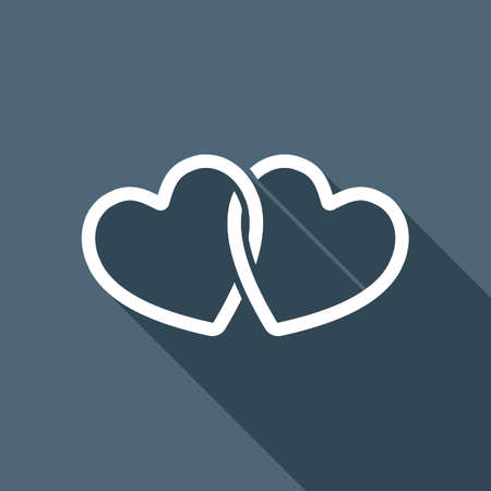 A linked hearts icon. White flat icon with long shadow on background Illustration