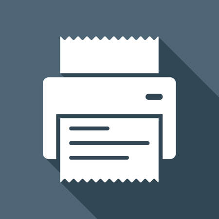 A printer, receipt, simple icon. White flat icon with long shadow on background Ilustração