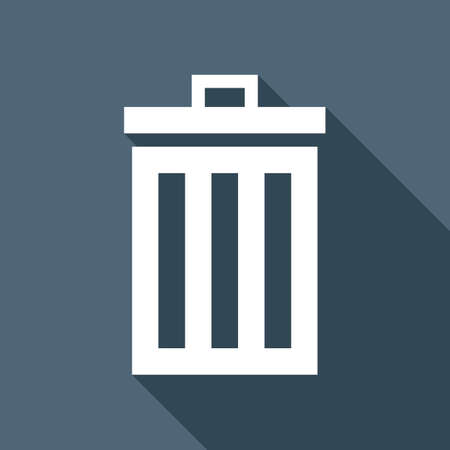 A trash bin. simple icon. White flat icon with long shadow on background