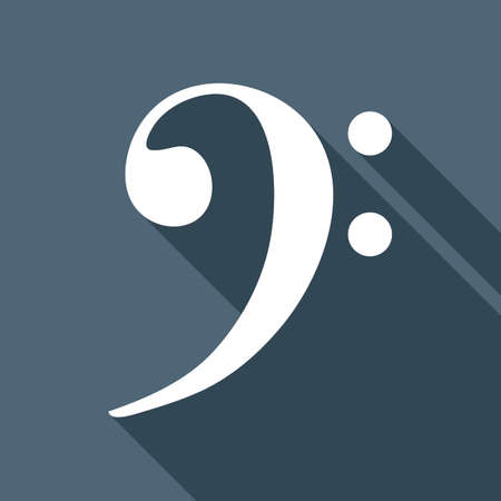 Bass Clef icon. White flat icon with long shadow on background
