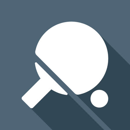 Table tennis racket and ball icon. White flat icon with long shadow on background Stock Illustratie