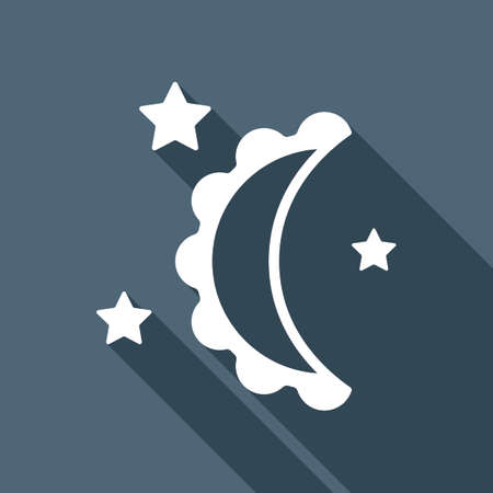 Moon and stars. simple silhouette. White flat icon with long shadow on background