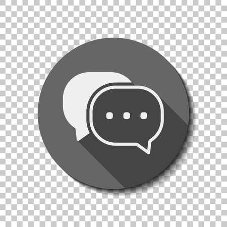 Chat-Symbol. Weiße flache Ikone mit langem Schatten im Kreis auf transparentem Hintergrund Standard-Bild - 97181763