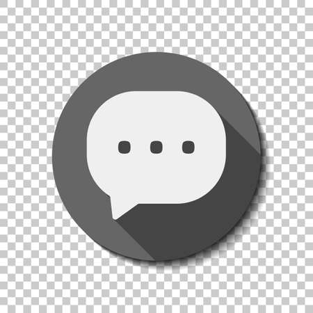Chat icon. White flat icon with long shadow in circle on transparent background