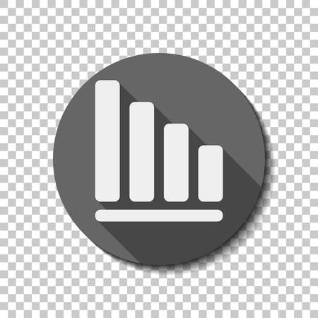 Declining graph line icon. White flat icon with long shadow in circle on transparent background Vettoriali