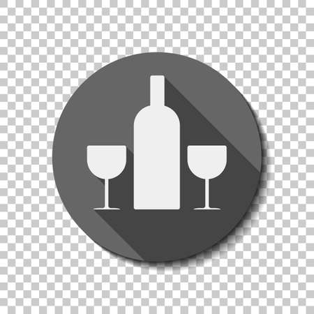 Glasses and bottle. White flat icon with long shadow in circle on transparent background