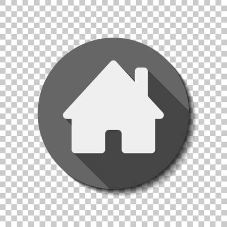 House icon. White flat icon with long shadow in circle on transparent background
