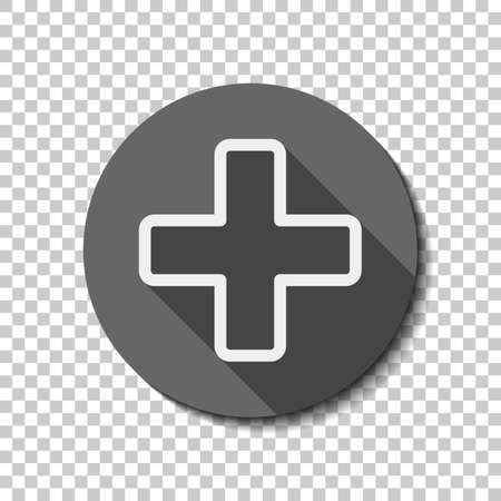 Medical cross icon. White flat icon with long shadow in circle on transparent background Illustration