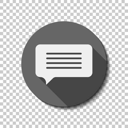 Message cloud icon. White flat icon with long shadow in circle on transparent background